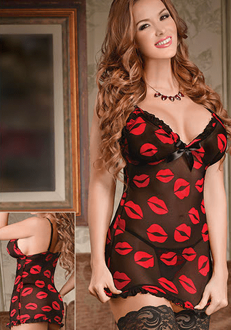 KISS ME Chemise and G-String Set