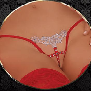 Floral Rhinestone G-String Panty