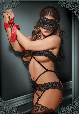 SHADES OF LOVE Bondage Set Diamond Teddy – Black